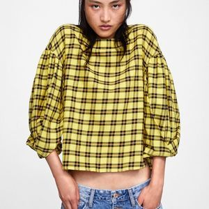 ZARA Basic Plaid Blouse w Pleated Sleeves Yellow M